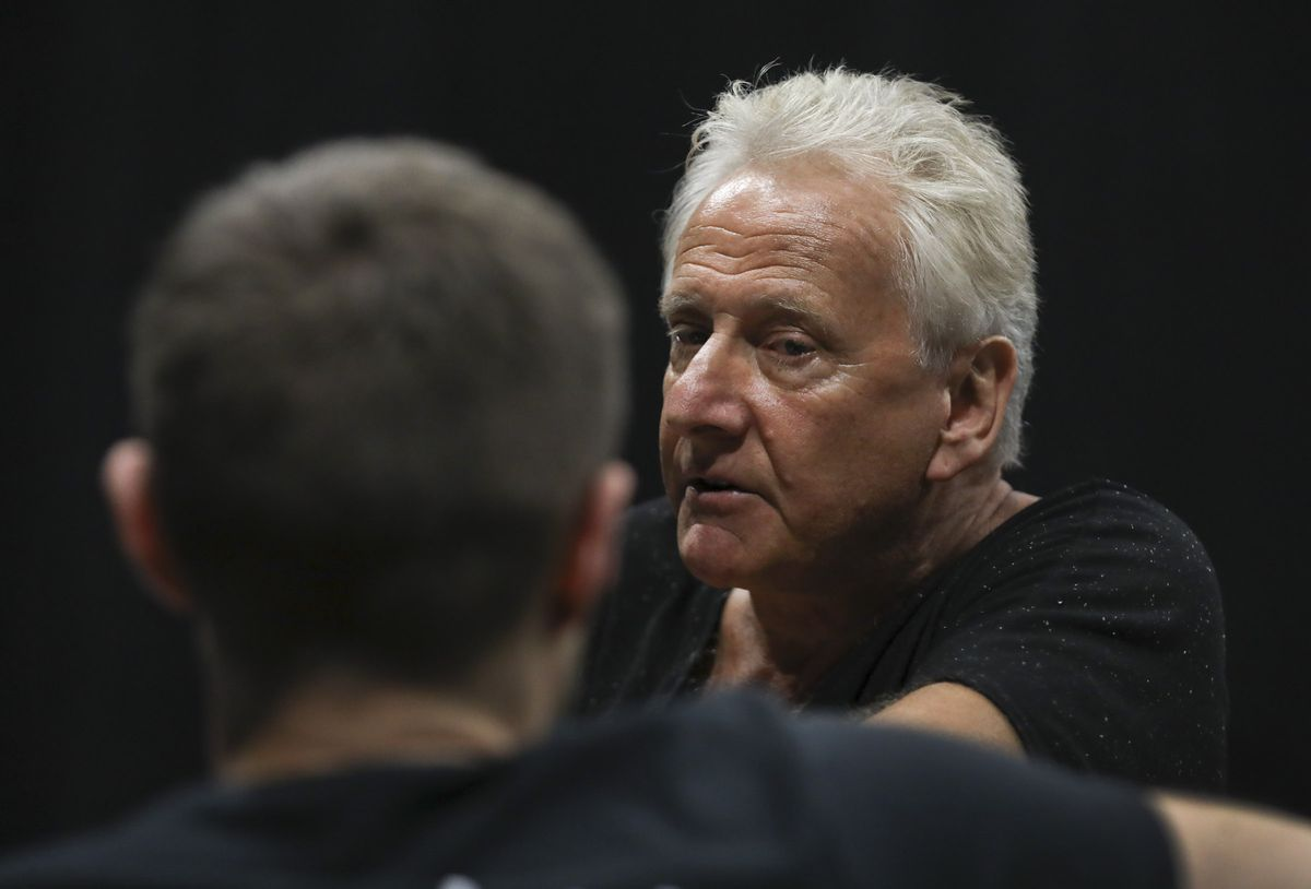 """Air Supply's Graham Russell listens to actor John Patrick McKenna sing during rehearsal for the musical """"A Wall Apart"""" at the TV studio on the Salt Lake Community College campus in Salt Lake City on Tuesday, July 30, 2019."""