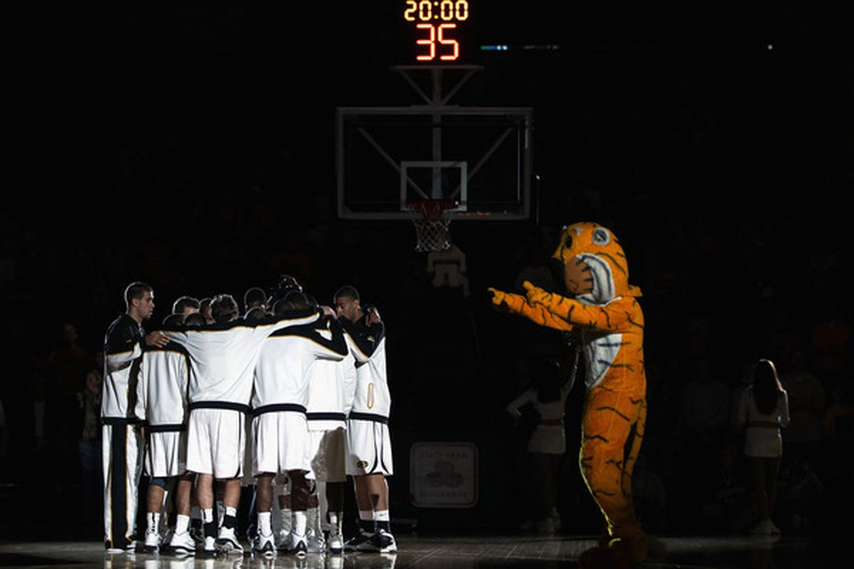 COLUMBIA MO - DECEMBER 08:  The Missouri Tigers huddle after player introductions just prior to the start of the game against the Vanderbilt Commodores on December 8 2010 at Mizzou Arena in Columbia Missouri.  (Photo by Jamie Squire/Getty Images)