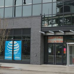 A view of the future home of an AT&T Store, and the entrance to the Lucky Strike Bowling Alley, in the Addison Clark Project. This is across the street from the current Draft Kings Sports Zone, on Addison Street