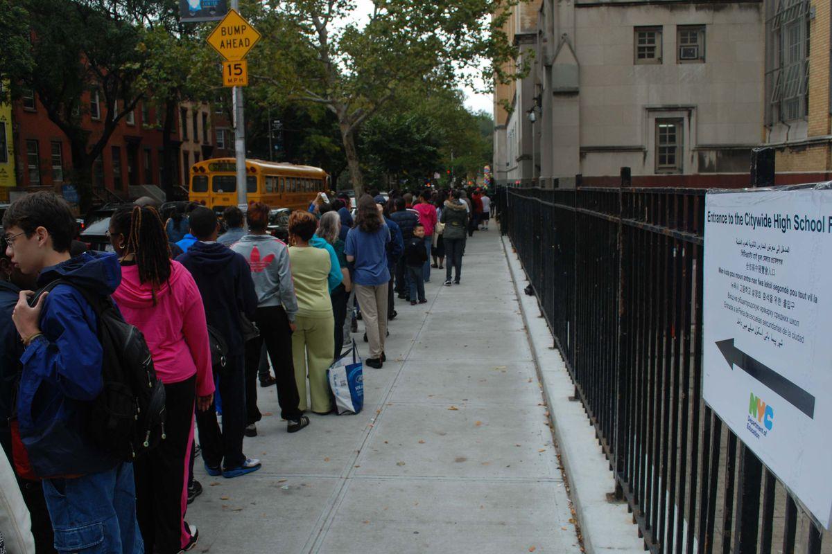 Students outside a high school fair at Brooklyn Tech in 2014