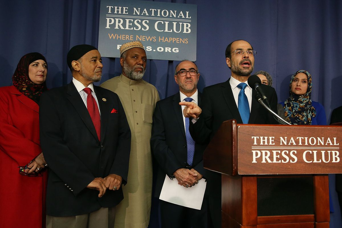 Nihad Awad, national director of the Council on American-Islamic Relations, speaks to the media during a news conference at the National Press Building, December 21, 2015, in Washington, DC.