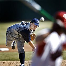 BYU pitcher Jeremy Toole pitches a complete game winning 4-1 over Utah in the Mtn. West Conference opener for both teams at Franklin Covey Field in Salt Lake City, Utah, Thursday, March 12, 2009.