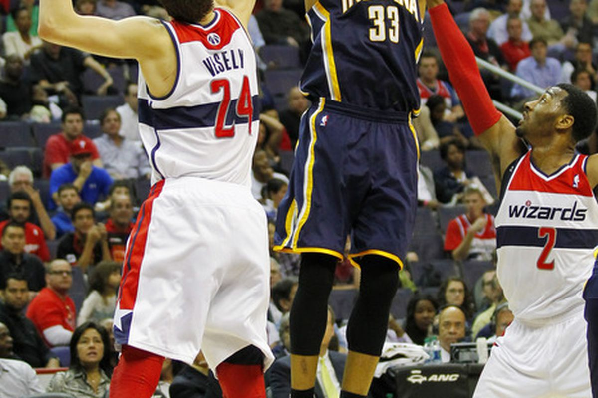 April 4, 2012; Washington, DC, USA; Indiana Pacers small forward Danny Granger (33) shoots the ball over Washington Wizards forward Jan Vesely (24) in the first half at Verizon Center. The Pacers won 109-96. Mandatory Credit: Geoff Burke-US PRESSWIRE