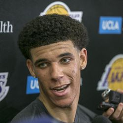FILE - In this June 7, 2017, file photo, University of California Los Angeles guard Lonzo Ball takes questions from the media after a closed Los Angeles Lakes pre-draft workout in El Segundo, Calif. By now the entire basketball world knows Lonzo Ball is a singular talent with a unique parent.