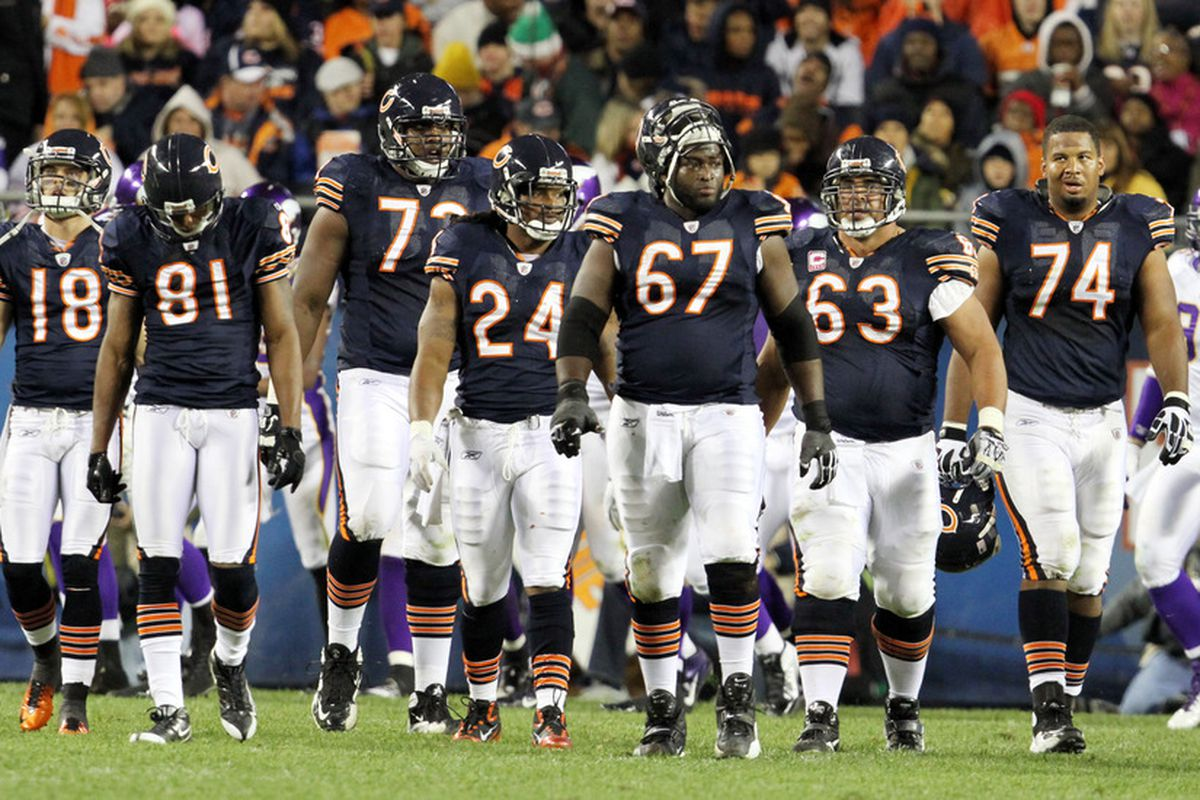 CHICAGO, IL - OCTOBER 16: Offense Line of the Chicago Bears during play against the Minnesota Vikings at Soldier Field on October 16, 2011 in Chicago, Illinois.  (Photo by Tasos Katopodis /Getty Images)