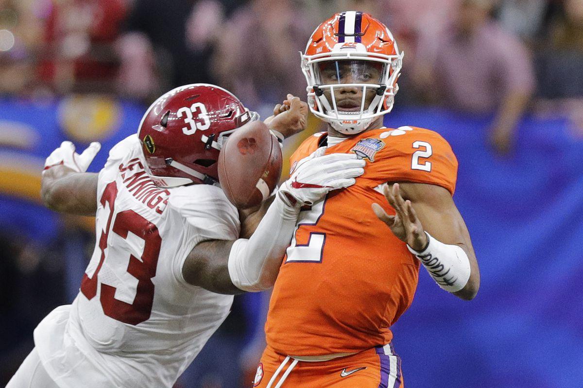 Alabama LB Anfernee Jennings hits Clemson QB Kelly Bryant in the 2018 Sugar Bowl, January 1, 2018.