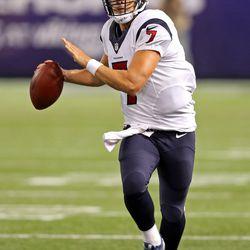 Aug 9, 2013; Minneapolis, MN, USA; (Houston Texans quarterback Case Keenum (7) gets ready to pass the ball in the third quarter against the Minnesota Vikings at the metronome. The Texans won 27-13.