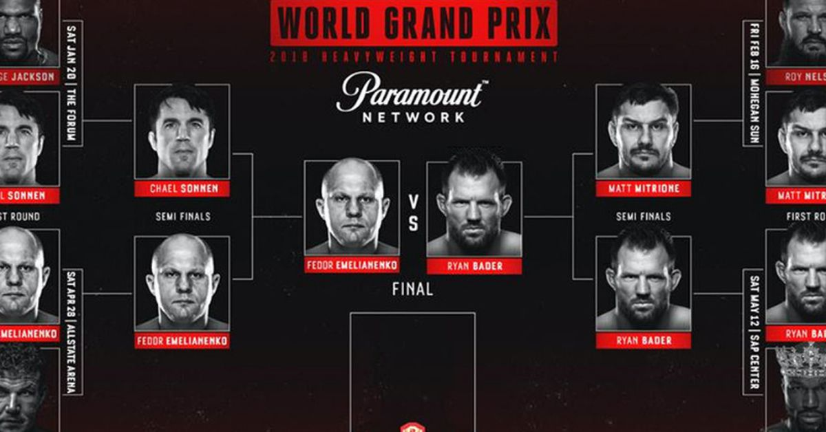 bellator heavyweight grand prix  updated bracket  second