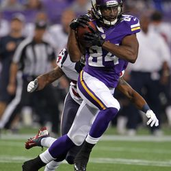 Aug 9, 2013; Minneapolis, MN, USA; Minnesota Vikings wide receiver Cordarrelle Patterson (84) catches a pass during the first quarter against the Houston Texans at the Metrodome.