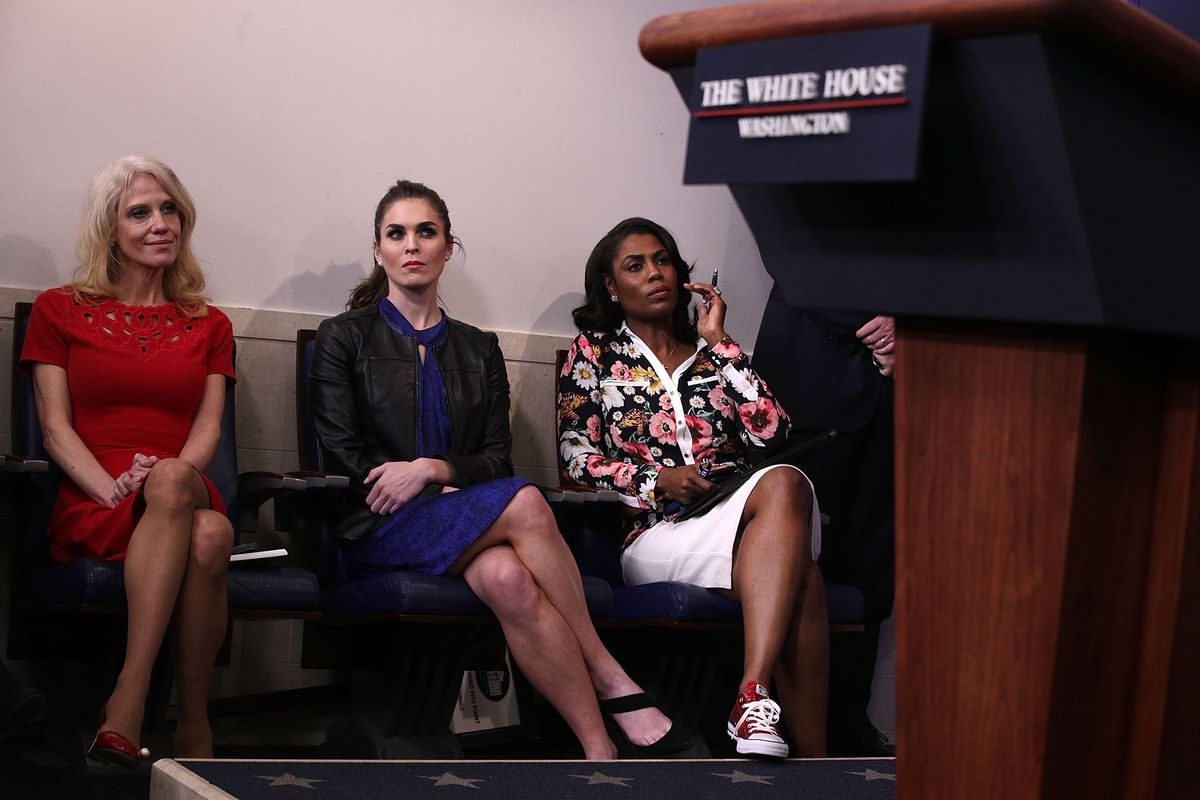 Kellyanne Conway, Hope Hicks, and Omarosa Manigault-Newman at a White House press briefing in February 2017. Hicks and Manigault-Newman have since left the Trump administration.