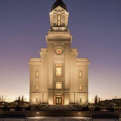 The Cedar City Utah Temple at night.