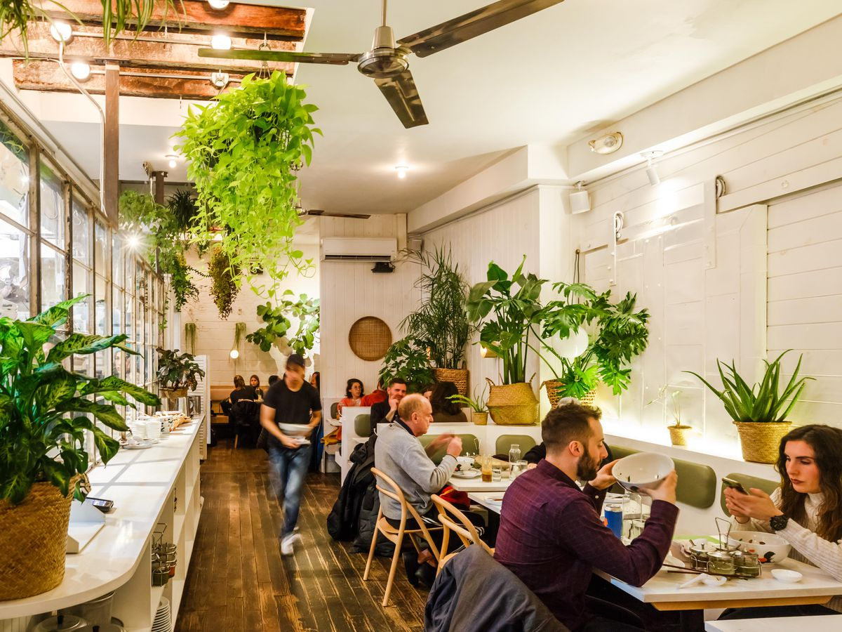 The plant-filled dining room at Di an Di