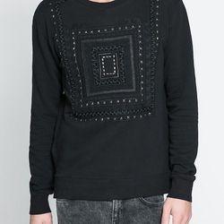 "<strong>Zara Man</strong> Handmade Sweatshirt in Black, <a href=""http://www.zara.com/us/en/man/sweatshirts/handmade-sweatshirt-c309502p1293686.html"">$79.90</a>"