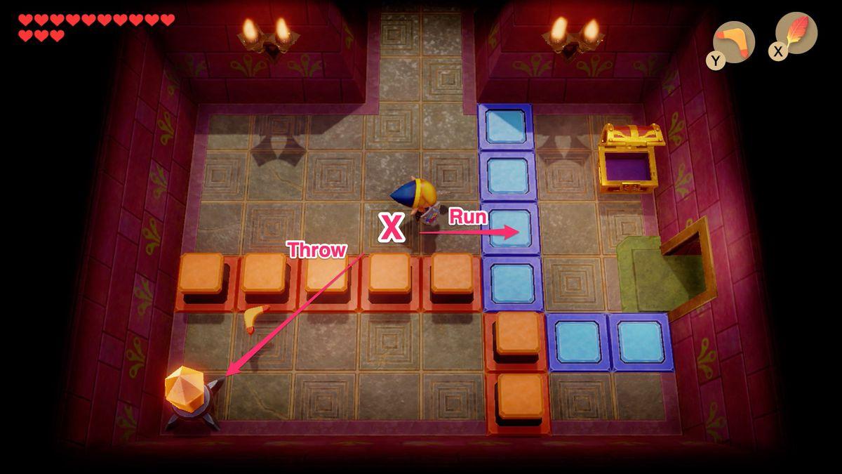 Link's Awakening Face Shrine blue orange tile crystal puzzle