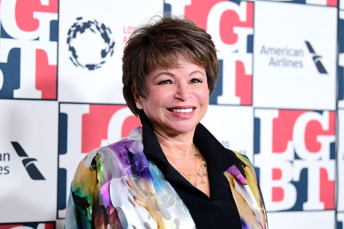 Former Obama adviser Valerie Jarrett in front of the Los Angeles LGBT Center's logo wall