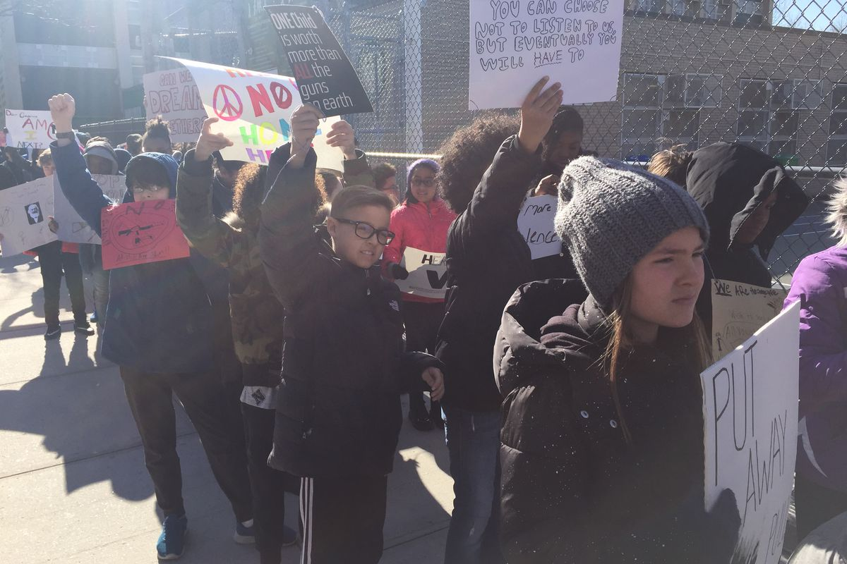 Students at P.S. 261 in Brooklyn walked out of class in March to honor the victims of the Parkland, Fla. shooting and call for stricter gun control laws.