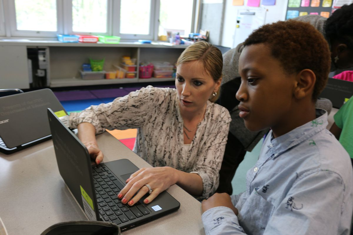 Through a partnership with Cornell University, fifth-grade teacher Brittany Ciana receives coaching to help get her comfortable teaching computer science at P.S./I.S. 217 on Roosevelt Island.