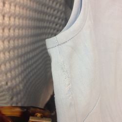 Small tear at seam, blue linen Theory top, $35