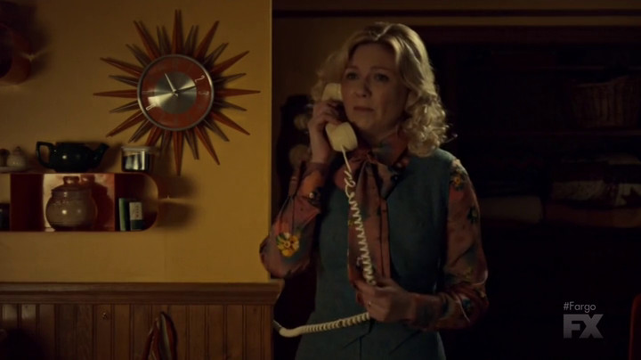 Peggy is on the phone on Fargo.