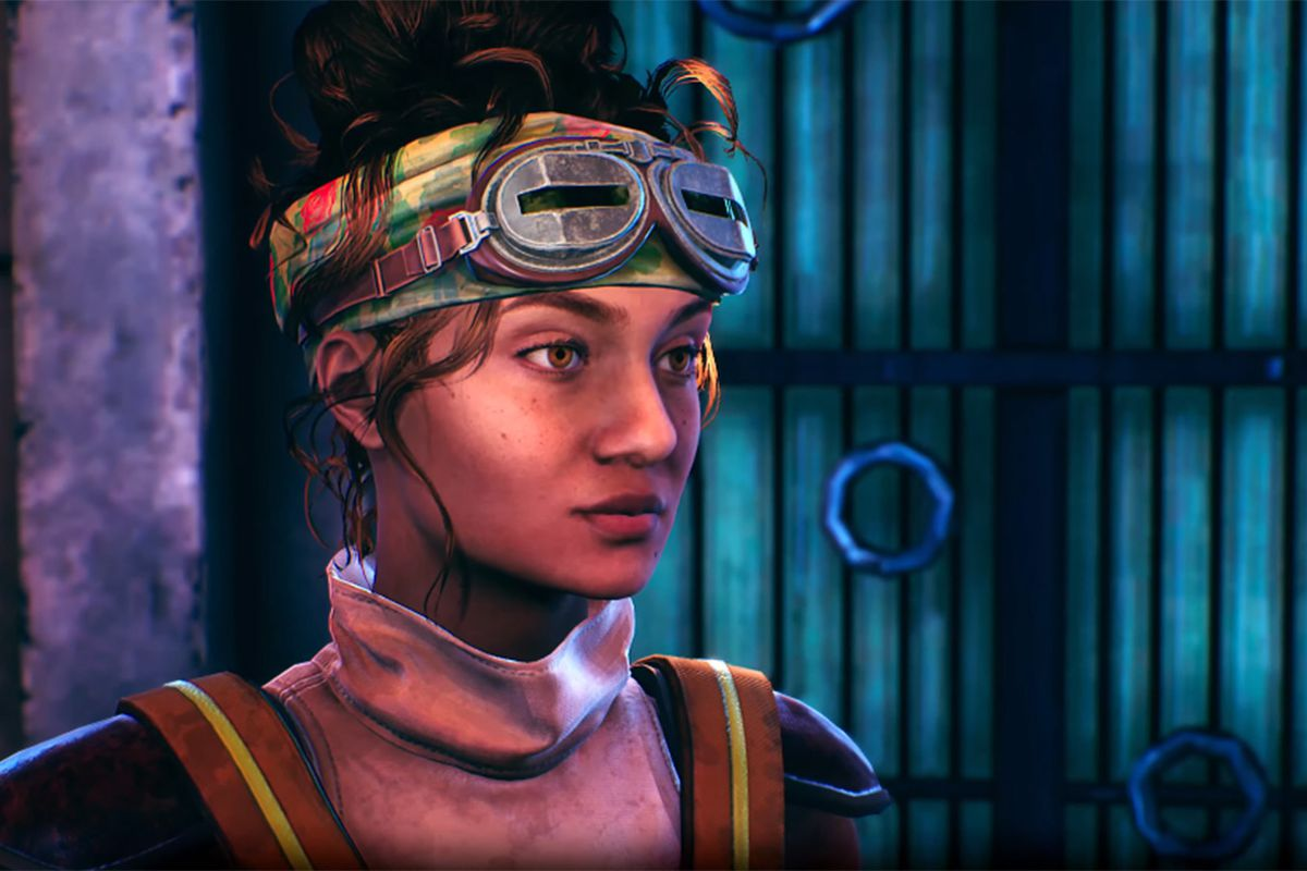 Parvati Holcomb, an Indian woman wearing goggles on her forehead, in The Outer Worlds