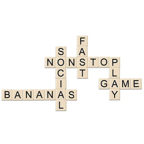 Bananagrams tiles lined up in a grid