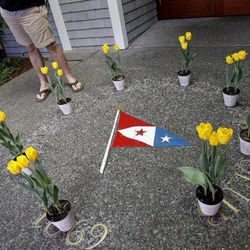 """In this photo taken Sunday April 15, 2012, shown are eight yellow tulips left near the entrance of the San Francisco Yacht Club in Belvedere, Calif. The search for four yacht crew members thrown from their boat during a weekend race off Northern California was indefinitely suspended, with the Coast Guard saying the """"window of survivability"""" had passed."""