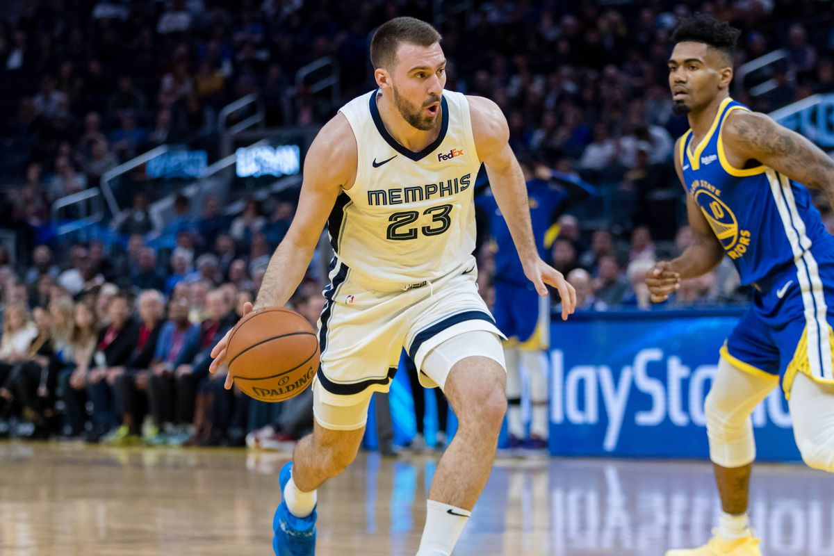 Memphis Grizzlies guard Marko Guduric (23) dribbles against the Golden State Warriors in the third quarter at Chase Center.