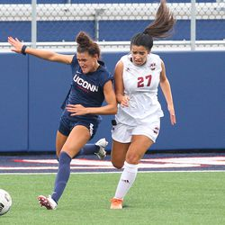 UConn's Jaydah Bedoya #13 during the UMass Minutewomen vs the UConn Huskies at Morrone Stadium at Rizza Performance Center in an exhibition women's college soccer game in Storrs, CT, Monday, August 9, 2021.