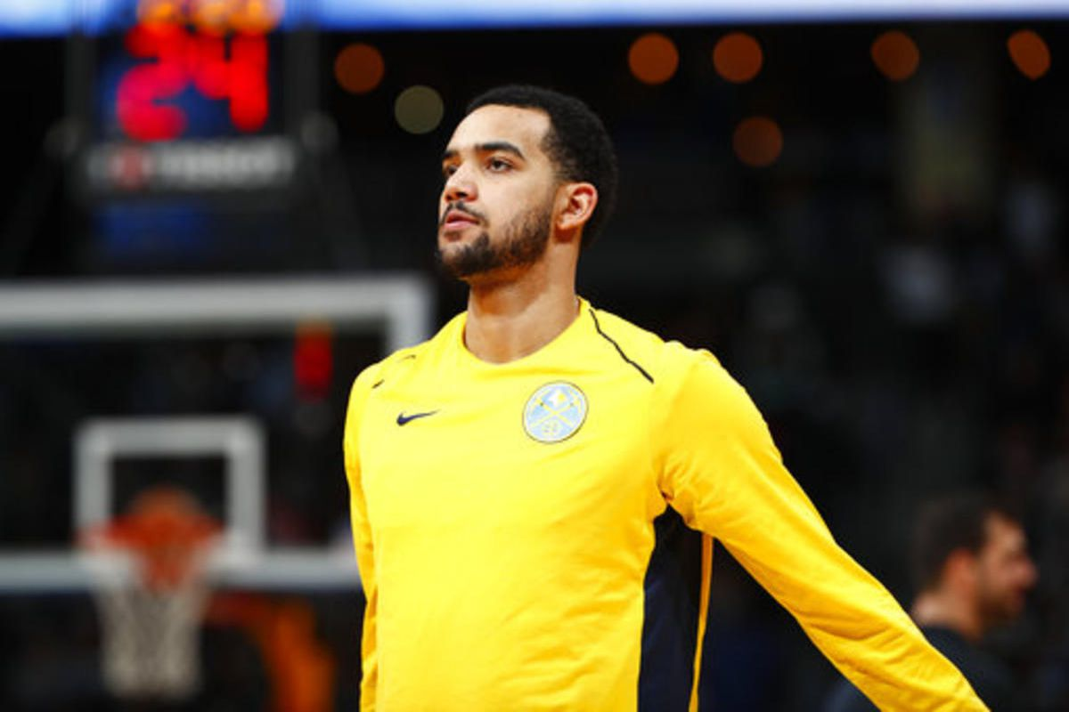 Denver Nuggets forward Trey Lyles (7) in the second half of an NBA basketball game Thursday, March 15, 2018, in Denver. The Nuggets won 120-113.