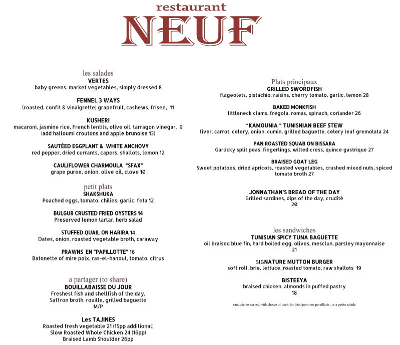 neuf menu