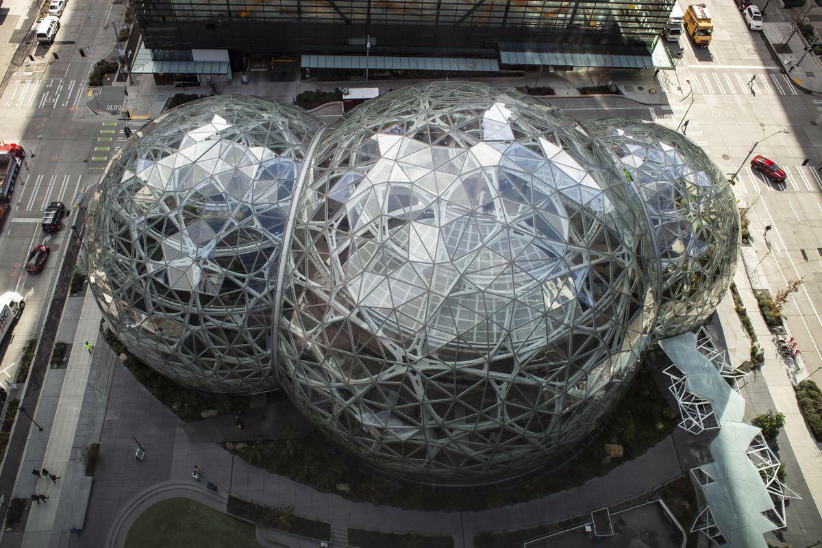 Amazon spheres loom outside of the Amazon headquarters.