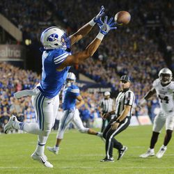 Brigham Young Cougars wide receiver Moroni Laulu-Pututau makes a reception for a touchdown as BYU and Mississippi State play in Provo at LaVell Edwards Stadium on Friday, Oct. 14, 2016.