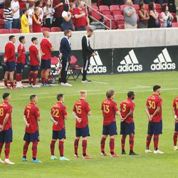 Real Salt Lake players line up for the national anthem at Rio Tinto Stadium in Sandy on Saturday, July 24, 2021. Real won 3-0.