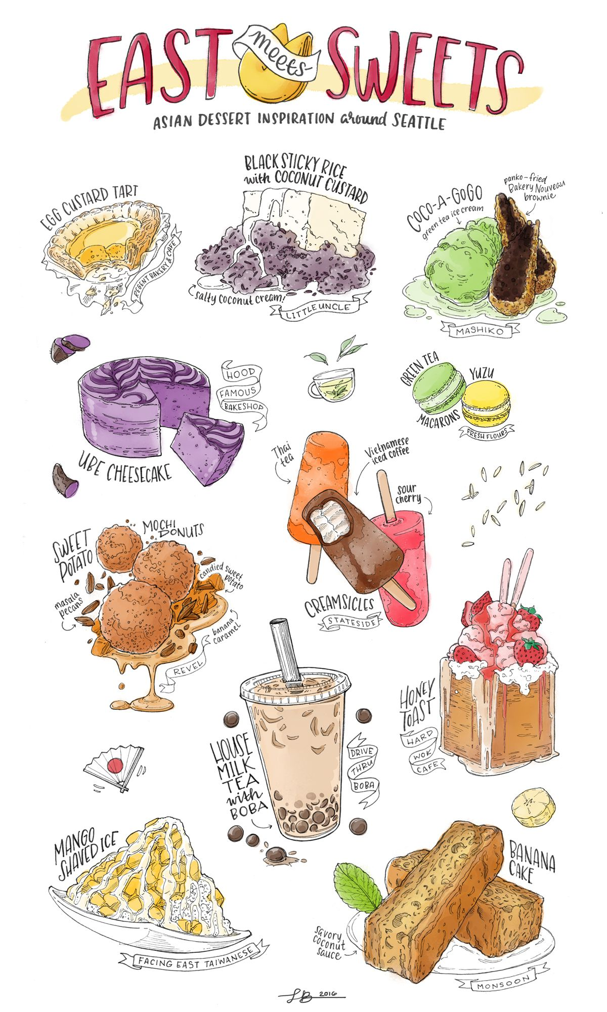 Colorful illustrations of Asian desserts at Seattle restaurants.