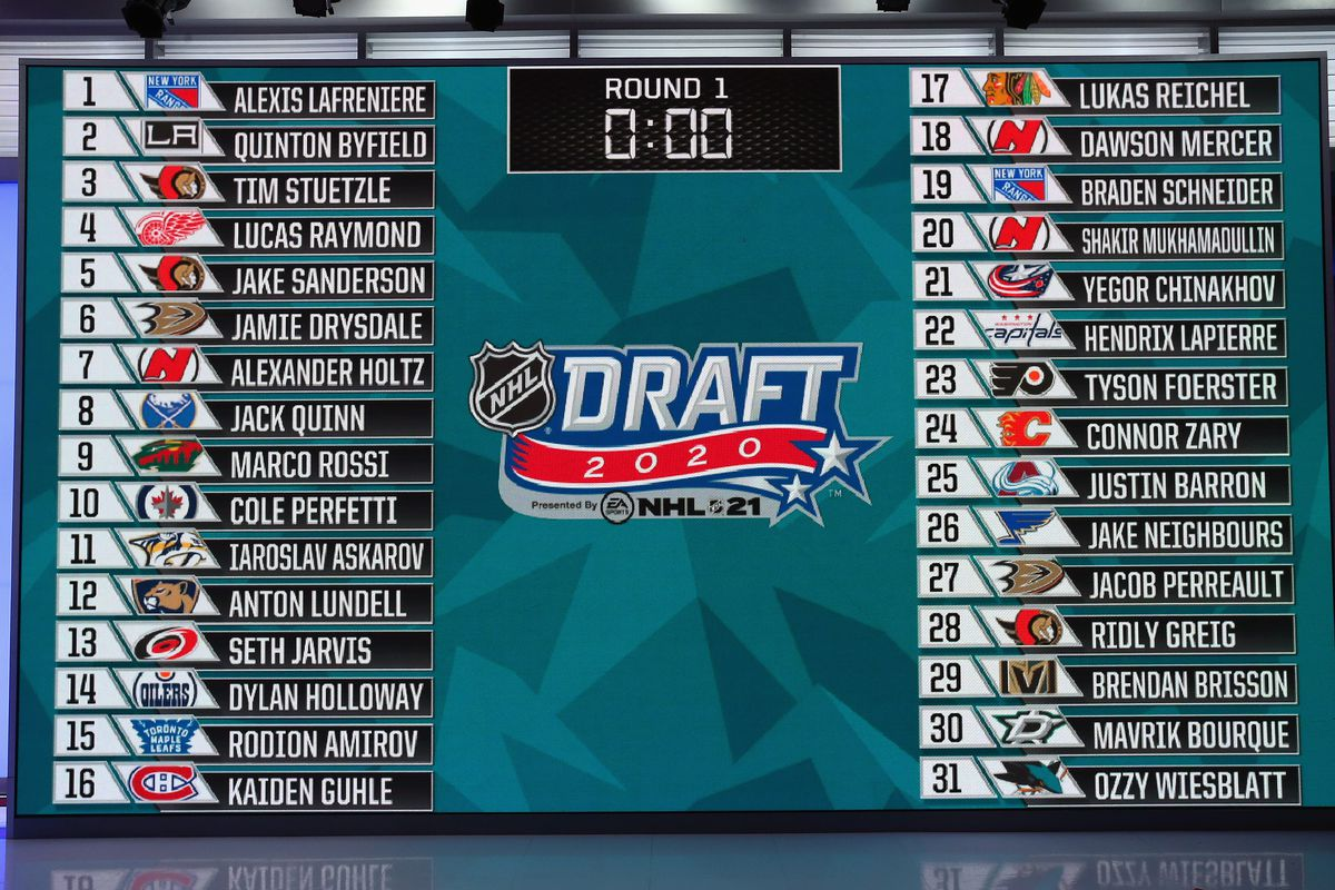 SECAUCUS, NEW JERSEY - OCTOBER 06: A general view of the draft board following the first round of the 2020 National Hockey League (NHL) Draft at the NHL Network Studio on October 06, 2020 in Secaucus, New Jersey.