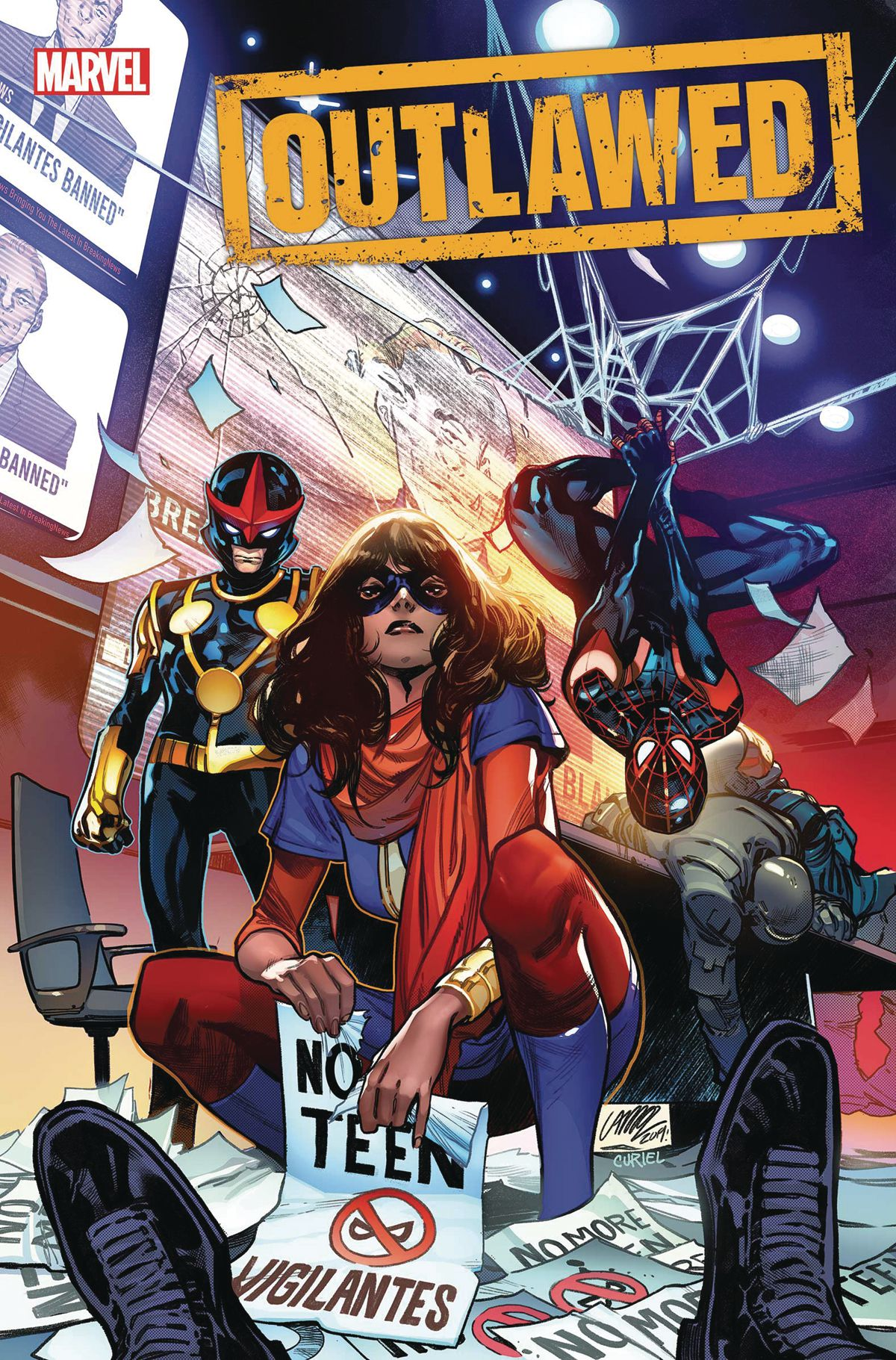 """Ms. Marvel, Miles Morales/Spider-Man, and Nova pose in a boardroom full of unconscious guards. The floor is strewn with posters that say """"NO TEEN VIGILANTES."""" Ms. Marvel is proudly ripping one in half. From the cover of Outlawed #1, Marvel Comics (2020)."""
