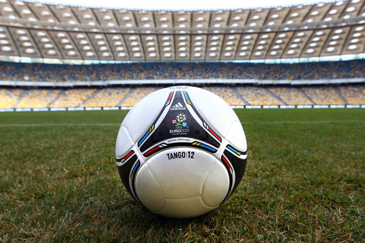 KIEV, UKRAINE - DECEMBER 02:  The official adidas ball is unveiled inside the Olympic Stadium before the UEFA EURO 2012 Final Draw Ceremony on December 2, 2011 in Kiev, Ukraine.  (Photo by Julian Finney/Getty Images)