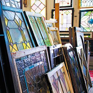<p>Most stained-glass windows are composed of small pieces of colored glass and faceted jewels held together by soldered lead rods called cames.</p>