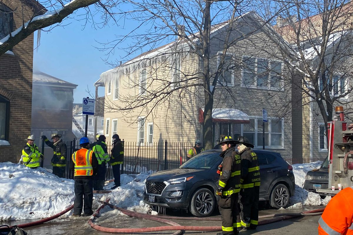 A fire broke out Feb. 19, 2021, in Bridgeport on the South Side.