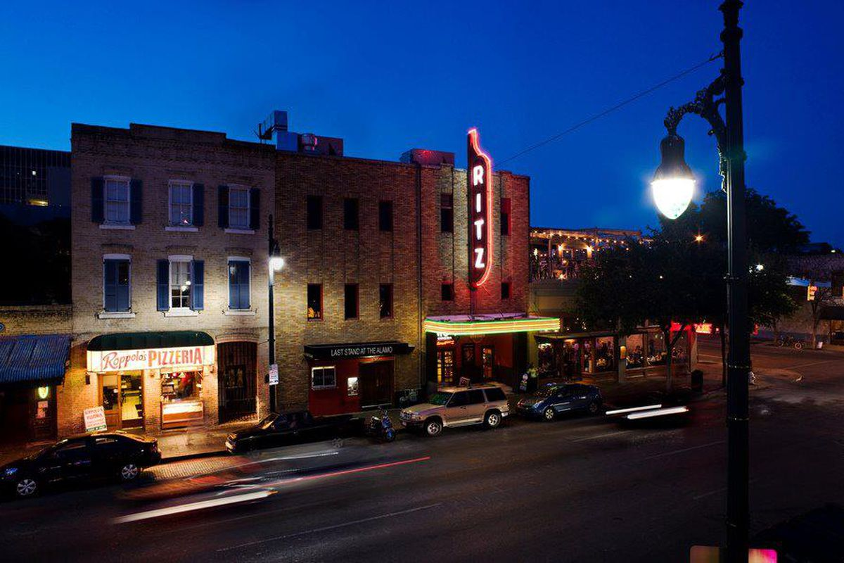 Downtown location of Alamo Drafthouse at night