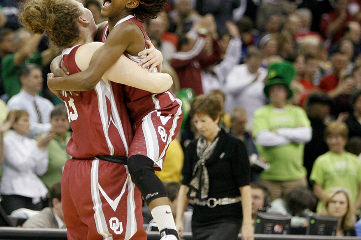 Danielle Robinson celebrates with her teammate Joanna McFarland after the Sooners defeat Miami Tuesday night.