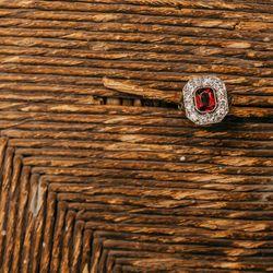 Art Deco Garnet Ring with European Cut Diamonds, Set in Platinum, $3,650
