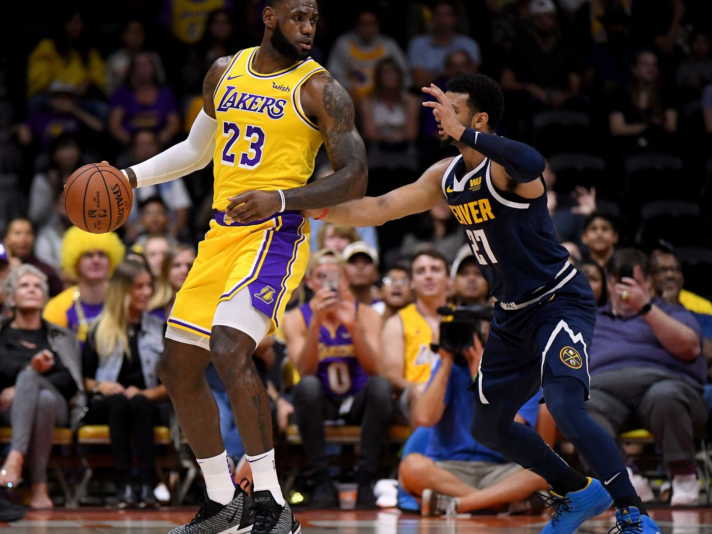 1820ff3e907 Lakers vs. Nuggets Final Score  Hot shooting Nuggets spoil LeBron ...
