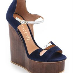 """Aperlai <a href=""""http://www.shopbop.com/blue-suede-wedge-aperlai/vp/v=1/1593890606.htm?fm=search-viewall-shopbysize"""">blue suede wedge sandals</a>: """"If you listen to the fashion press, you'll have heard that chunky wedges are on the way out... but I don't"""