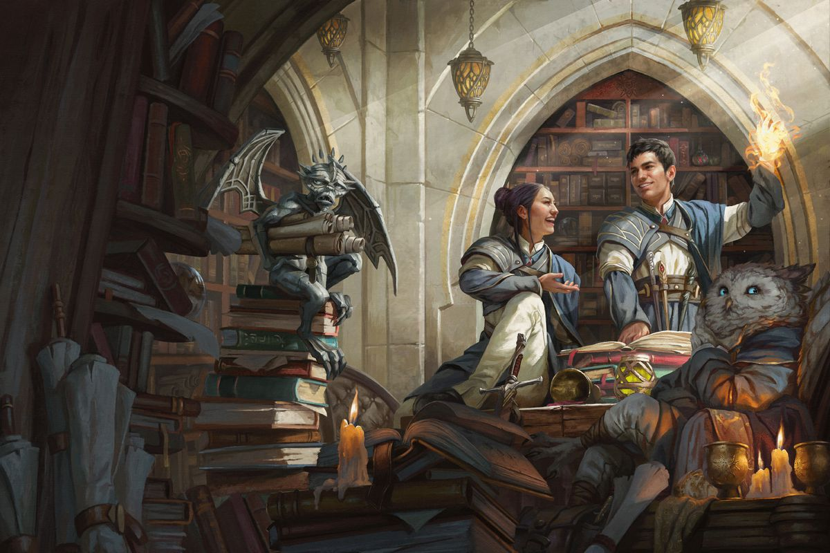 Two young mages look at scrolls in a dusty dungeon while laughing.