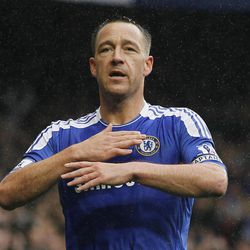 Chelsea's John Terry celebrates after scoring a goal during the English Premier League soccer match between Chelsea and Queens Park Rangers at Stamford Bridge Stadium in London, Sunday, April 29, 2012.
