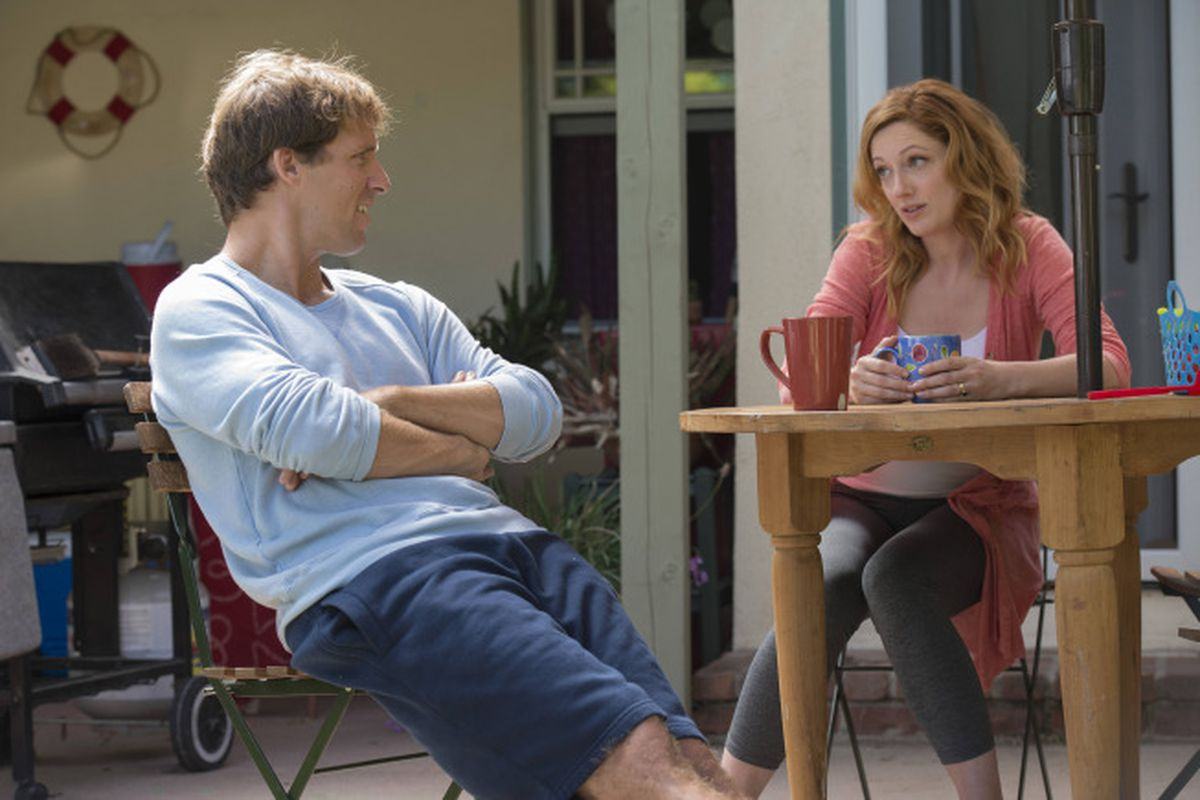 Nat Faxon and Judy Greer of Married