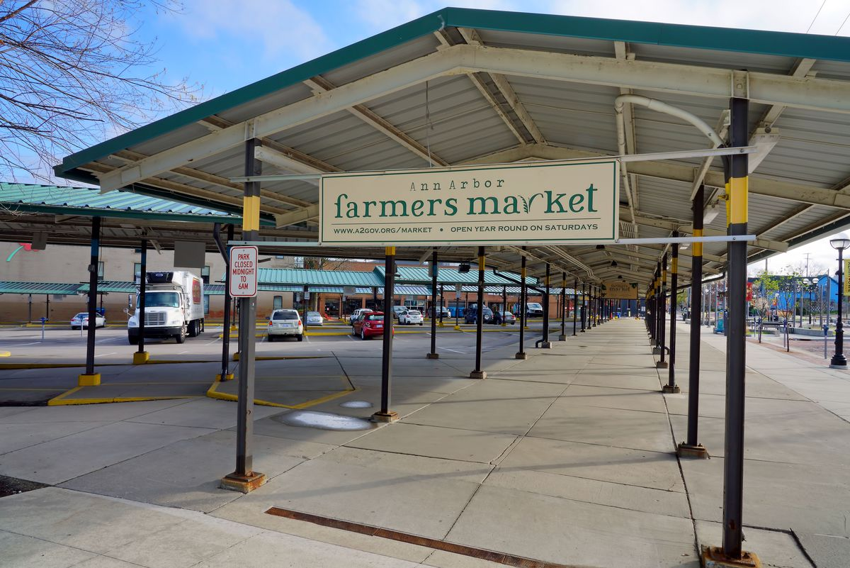 Empty Ann Arbor Farmers' Market shed on May 1, 2020.