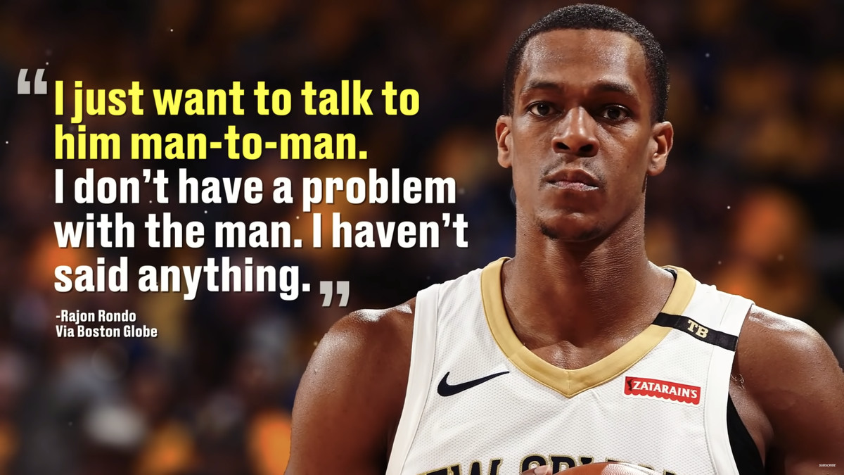 A parallax frame with a Rajon Rondo picture and a quote highlight in the background.