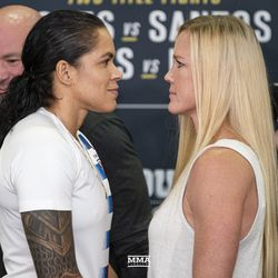 Amanda Nunes and Holly Holm face off for UFC 239 media day in Los Angeles